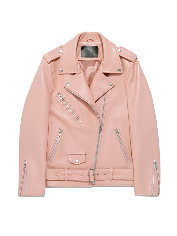 WOMENS BELTED RIDERS JACKET HS [PINK]