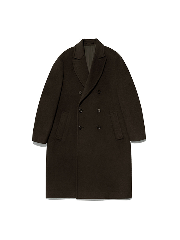 CASHMERE DOUBLE BREASTED COAT IA [BROWN]