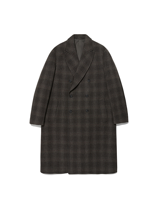 CASHMERE DOUBLE BREASTED COAT IA [CHECK]