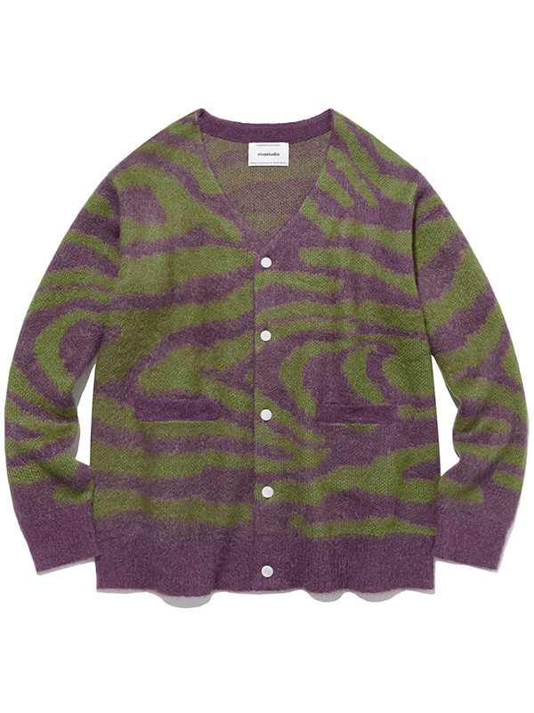 KID MOHAIR TIGER CARDIGAN IA [PURPLE]