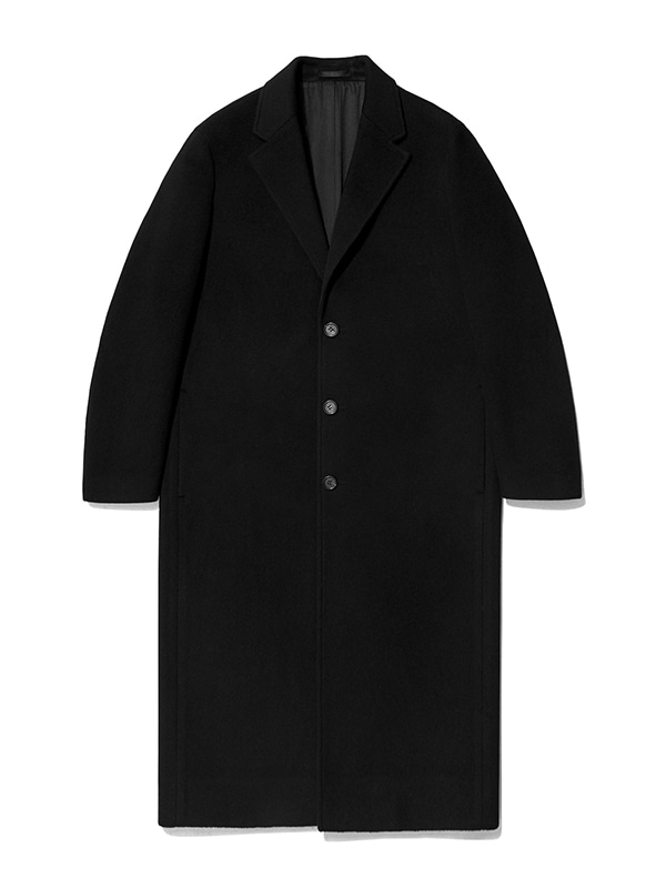 CASHMERE LONG CHESTERFIELD COAT IA [BLACK]