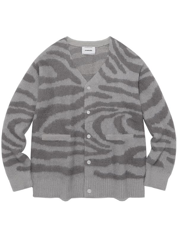 KID MOHAIR TIGER CARDIGAN IA [GREY]